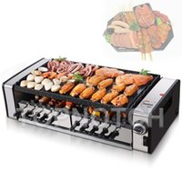 Electric Barbecues Household Double Skewers Machine Smokeless Bbq Grill Non Stick Frying Pan Barbecue Removable