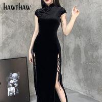 Casual Dresses Hawthaw Women Retro Autumn Winter Long Sleeve Bodycon Velvet Open Fork Split Black Qipao Chinese Dress 2021 Fall Clothes