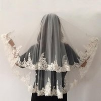 Bridal Veils Wedding Short White Ivory Tulle Lace Edge 2 Layer Women Mariage With Comb
