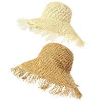 Mulheres verão crochê palha palha sol viseira chapéu borlas grande borda larga tampa de praia 28gd j0226