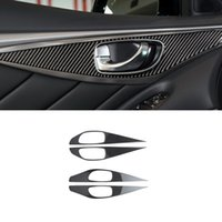 For Infiniti Q50 2015-2021 Carbon Fiber Auto Car Accessories Inner Door Handle Panel Frame Switch Cover Sticker Trim Decoration