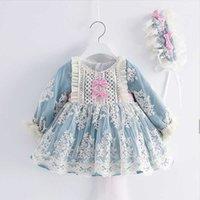 2 adet Bebek Kız Uzun Kollu Mavi Vintage Lolita Balo Çocuk İspanyol Prenses Elbise Kız Doğum Günü Nedime Elbiseler Için Q0716
