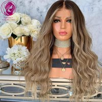 "Ceniza Brown Blonde Balayage Frontal Wig 13x4 / 13x6 Pelucas de cabello humano Pelucas Remy Flow Remy Para Mujeres 26 ""28"" Largos 150% 180%"