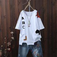 FJE Yeni Varış Yaz Kadın T Gömlek Artı Boyutu Düzensizlik Gevşek Rahat Tops Tee Gömlek Femme Pamuk Kısa Kollu Tişört D31 210304