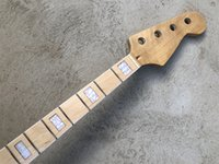 Gloss 4 String Electric bass guitar neck 20 fret 34 inches Maple fingerboard Block Inlay replacement
