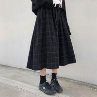 التنانير 2 اللون جابان إي ستايل عالية إيلا تيك واي ر المرأة الطويلة 2021 الخريف الشتاء منقوشة ألف خط مطوي المرأة (X1078)