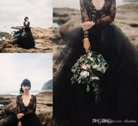 2020vintage Black Bohemia Wedding Dresses Backless With Illusion Long Sleeve Puffy Tulle Boho Cheap Gothic Formal Wedding Party Bridal Gowns