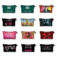 Korea Squid Game Print Cosmetic Bags Make Up Storage Organizer Travel Pouch Makeup Bag Purses tToiletry Bag Women Handbag