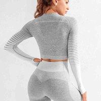 여성 체육관 의류 스포츠 착용 원활한 Ombre 긴 소매 요가 레깅스 세트 높은 허리 휘트니스 꽉 작업 양복