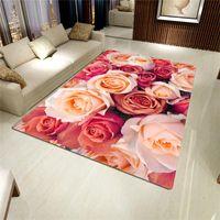 Carpets 2021 장미 카펫 3D 매트 거실 꽃 깔개 욕실 안티 슬립 흡수 주방 홈 장식 Doormat 사용자 정의