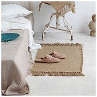 Alfombras de la alfombra de los yute alfombras Macrame Tabla Tabla Tablas Decoración de telas Alfombra con borlas Mats de piso Badroom Nordic Chic Decor 210301