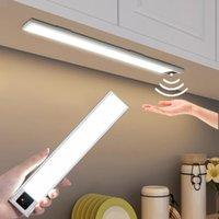 3 ألوان usb قابلة للشحن الصمام نوم المطبخ ضوء المغناطيس المحمولة اليد الاجتياح الاستشعار مصباح لخزائن خزانة خزانة 20/40 سنتيمتر