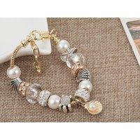 Charme Pulseiras Aiboduo Moda Prata Encantos Pulseira Pulseira Para As Mulheres Cristal Flor Beads Fit Marca Jóias B00050