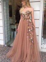 Party Dresses Flesh Pink Prom 2021 Elegant Women Formal Night Long Vestidos De Gala Appliqus Tulle Sexy Evening Gowns