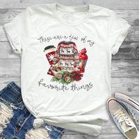 Women's T-Shirt Women Cartoon Coffee Plaid Female Graphic Tee Shirt Tees T-shirts Year Print Merry Christmas Womens Top T