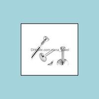 Labret, piercing bijoux anneaux L01 60pcs Mélange 3 Taille6 / 8 / 10mm Labret Stud goujon de la lèvre filetée interne 316L bijoux de corps en acier inoxydable