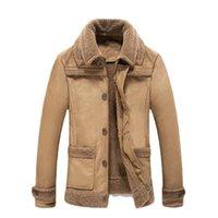 Erkek Ceketler Kış Sonbahar Ceket Palto FUAX Deri Kürk 2021 Rahat Turn-down Yaka Siper Düğmesi Rüzgarlık Artı Boyutu Erkekler Palto