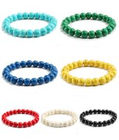 Beaded, Strands Jewelryhigh Quality Blue White Green Red Natural Turquoises Stone Bracelet Homme Femme Charms 8Mm Men Strand Beads Yoga Brac