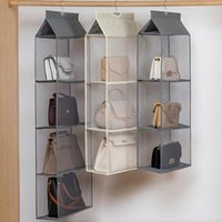 Storage Bags Hanging Handbag Organizer For Wardrobe Closet Transparent Bag Door Wall Clear Sundry Shoe With Hanger Pouches