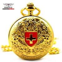 Gold Swiss Red Cross Mechanical Pocket Watch
