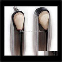 Products Drop Delivery 2021 Grey Straight Closure Brazilian Remy Lace Front Human Hair Wigs With Transparent Pre Plucked Wig Xqhy0