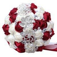 Fleurs décoratives luxe magnifique mariage mariée bouquet hydransea élégant perle mariée demoiselle d'honneur cristal sparkle hwf7625