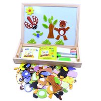 Multifunctional Wooden Chalkboard Animal Magnetic Puzzle Whiteboard Blackboard Drawing Easel Board Arts Toys For Children Kids Wholesale
