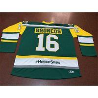 001 echte grüne volle stickerei # 16 humboldt broncos humboldt starken strasschnitzki hockey jersey oder benutzerdefinierte name oder nummer retro jersey