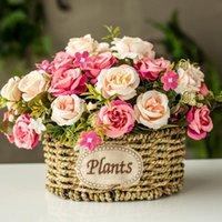 Decorative Flowers & Wreaths Vintage Silk Flower Artificial Art Decoration Fake Rose Bridal Wedding Decor Home Wreath Vase And Set