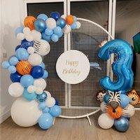 95 stücke Dschungel Tier Ballons Girlande Bogen Kit Kinder Junge Geburtstag Partybedarf Baby Dusche Dekoration 30 Zinch Blaue Zahl Ballon