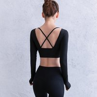 Yoga Outfits Tight Long Sleeve Women Cross Back Short Sports T-shirt Quick Drying Running Fitness Crop Tops With Thumb Hole