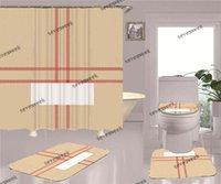 عالية الجودة دش الستائر أربع قطعة مجموعات حمام المنزل غير زلة مرحاض ماتس باب حصيرة اكسسوارات الحمام