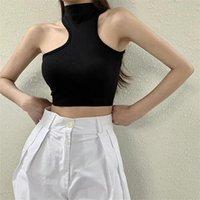Women's Tanks & Camis 2021 Summer Sleeveless Sexy Off Shoulder Women Girls Irregular Vest Crop Top Shirt Blouse Casual Slim Black Tops
