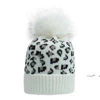 Party Hats Ear Warm Mink Fox Fur Ball Thick Women Girl Fall Winter Skullies Beanies Hat Cap Leopard Elastic Fashion Accessories EWE9765