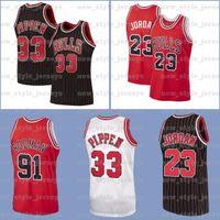 Michael Kid.Jordon.ChicagoBulls Jersey 91 Dennis Scottie Rodman 33 Pippen NCAA Q8 Mitchell Ness HardwoodJerseys de basquete.