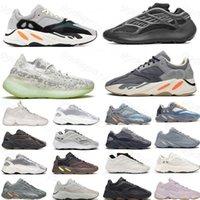 Novo Hot 700 Reflexivo Running Shoes Sol Brilhante Azul Sólido Cinza Cinza Corredor Laranja Carbono Teal Static Black Men Sneakers