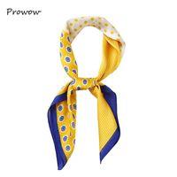 Scarves 70*70cm Square Scarf Hair Tie Band For Party Women Elegant Small Vintage Skinny Retro Head Neck Silk Satin FJ024