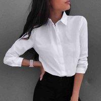 Women's Blouses & Shirts Camisa feminina manga comprida gola virada ol, blusa casual folgada JWV7