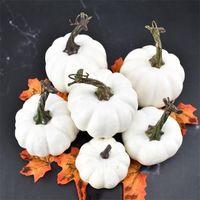6 шт. Хэллоуин белая тыквенная пена игрушка искусственная мини-тыква симуляция опора сада партии украшения Y201015
