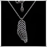 Блеск Перо Ожерелье 925 Стерлинговое серебро для ювелирных изделий Pandora Мода Высокое Качество Элегантные Дамы Ожерелье с оригинальной коробкой 271 T2
