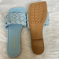 Slippers 2021 Summer Women Blue Flats Slides Leather Weave Mules Platform Lady Slaps Luxury Designer Quality Shoes