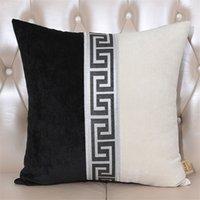 Novo estilo chinês patchwork macio almofada capa preto café branco lance fronhas fronhas simplicidade almofada coberta sala de estar decoração 210315