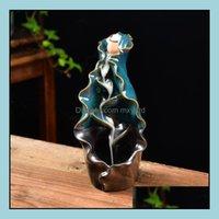 Fragrance Fragrances Décor & Gardenfragrance Lamps Ceramic Smoke Backflow Incense Burner Back-Flow Censer Cone Holder Ornament Crafts Home O