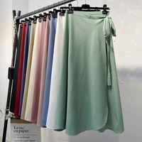 Croysier Летние юбки женские Новые высокие талии бокового галстука пляж повседневная обертка юбка женская твердая элегантная бриди юбка женщина одежда 210309