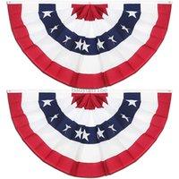 도매 3 * 6 피트 주름진 미국 국기 장식 플래그 치마 배너 90 * 180cm 독립 기념일 미국 팬 모양의 플래그