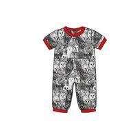 Wholesale children sleepwear long-sleeved  short sleeves with rompers Owl pattern print vrew collar boys pajamas set