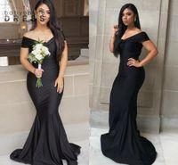 2021 Vestidos de noche de la sirena negra Elegante Off Hombro Sweetheart Africano Dubai Domai Vestidos de dama de honor del piso Duración de la fiesta de fiesta