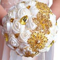 Decorative Flowers & Wreaths WEDDING CENTERPIECES SUPPLIES GOLDEN ROMANTIC BRIDE HOLDING BOUQUET SILK ROSE GOLD DECORATIONS HAND