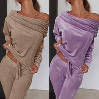 Suit Ropa Mujer Pants 2pcs Women Set Long Sleeve Sexy Cold Shoulder Solid Top 2 Casual Tracksuit Women's Two Piece