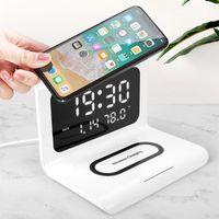 10W QI Wireless Ladegerät Wireless Lading Pad Thermometer Kalender Uhr Fast Ladung Cargador Inalambrico für iPhone für Samsung